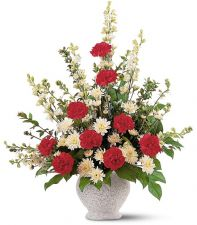 Telefloras Red and White Sympathy Arrangement